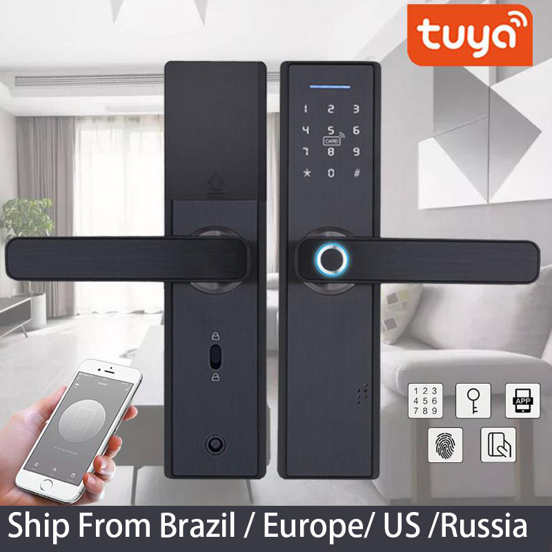 Lock Biometric Wifi-Door Tuya Fingerprint Digital Password Keyless Remotely APP Fechadura title=