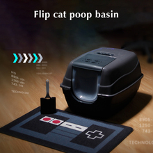 Oversized Black Deodorant Anti-Splash Litter Box Flip Cat Toilet
