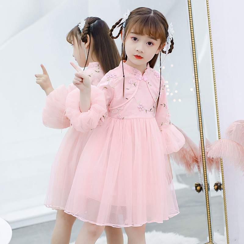 Girls Princess Dress for Spring Winter Cotton or Fleece Children Retro Cheongsam Dress Puff Sleeve Tulle Gown Party Frocks