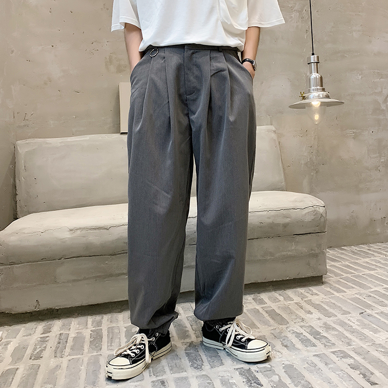 2020 Spring And Autumn New Youth Popular Japanese Pure Color Loose Bottom Trousers Fashion Casual Straight Legs Gray / Black