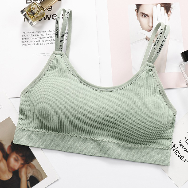 Women Bandeau Crop Top Sexy Lingerie Push Up Tube Tops Seamless Underwear Letter Shoulder Strap Padding  Female Tube Bra Tops