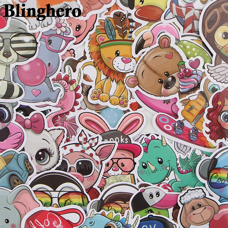 CA689 41 Pcs/set Animal Zoo World Cute Waterproof Stickers Kids Toys Stickers for DIY Luggage Laptop Skateboard Car Decor