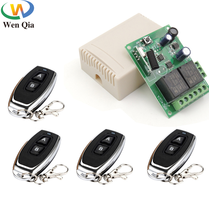 433Mhz Wireless RF Universal DC 6~30V 2CH Receiver Remote Control Switch Transmitter For Garage Door LED Motor Sliding Door Lamp