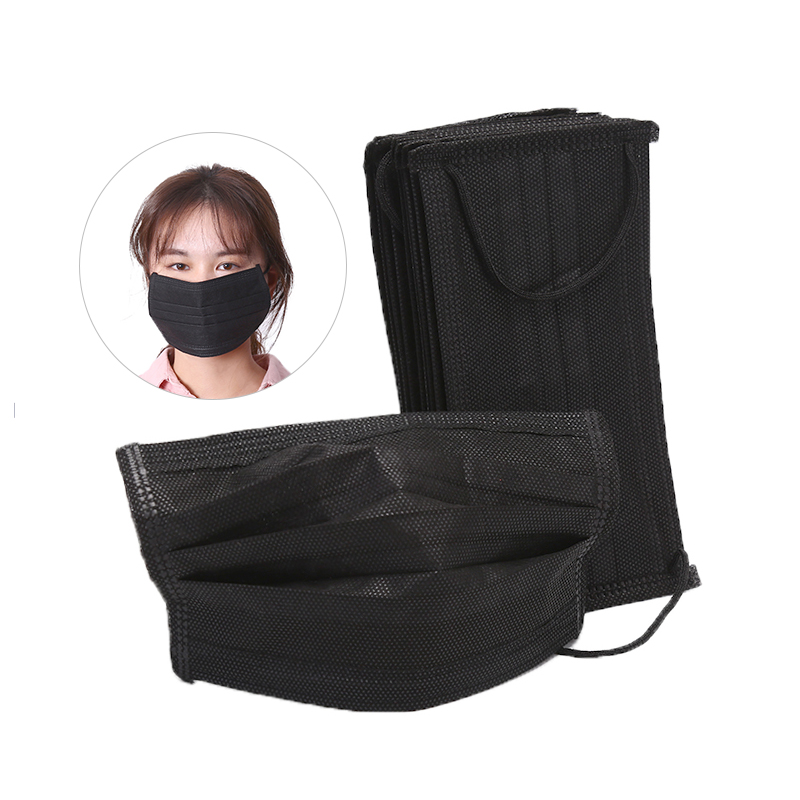 10pcs/pack / 1pc Black Non Woven Disposable Face Mask 4 Layer Earloop Carbon Anti-Dust Face Masks