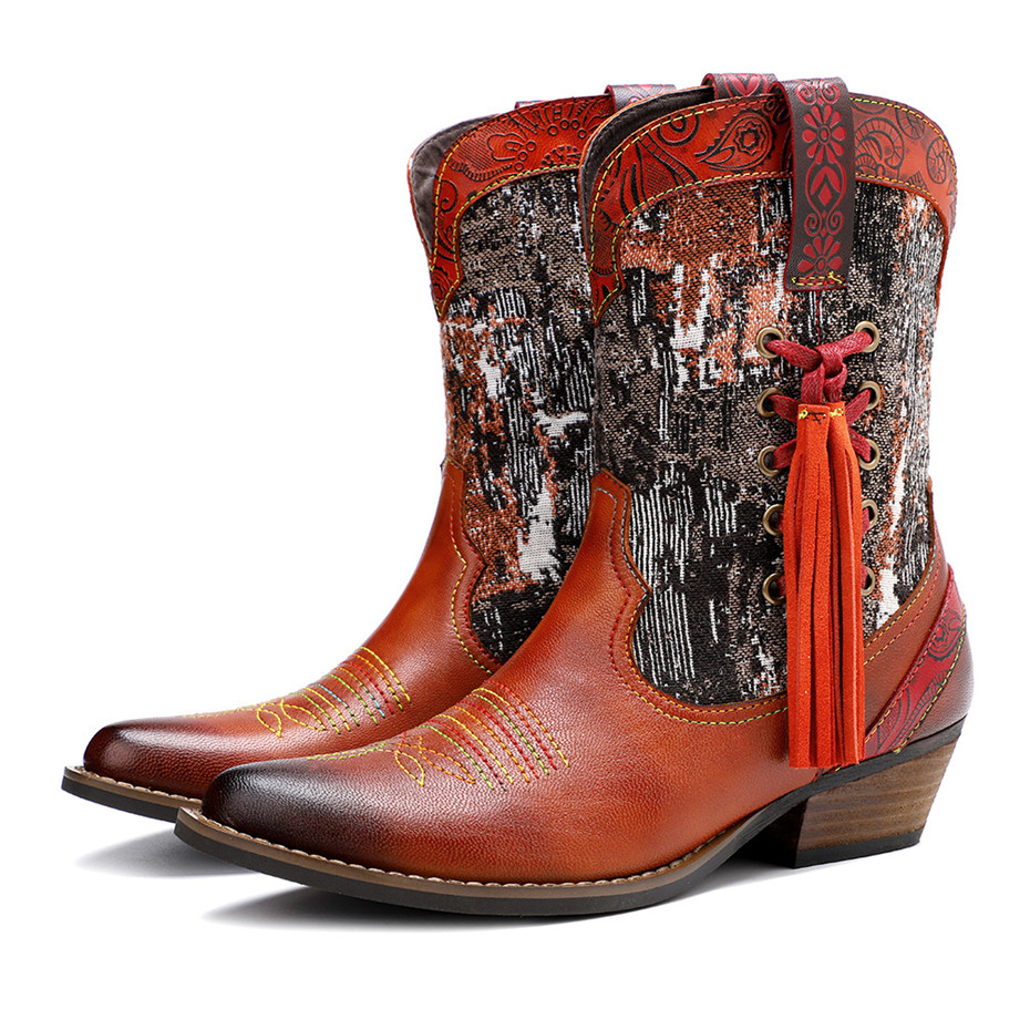 New Genuine Leather Fine Printed Ladies Shoes Ankle Boots Vintage Handmade Chunky Heel Embroidery Western Boots Shoes For Woman  (13)