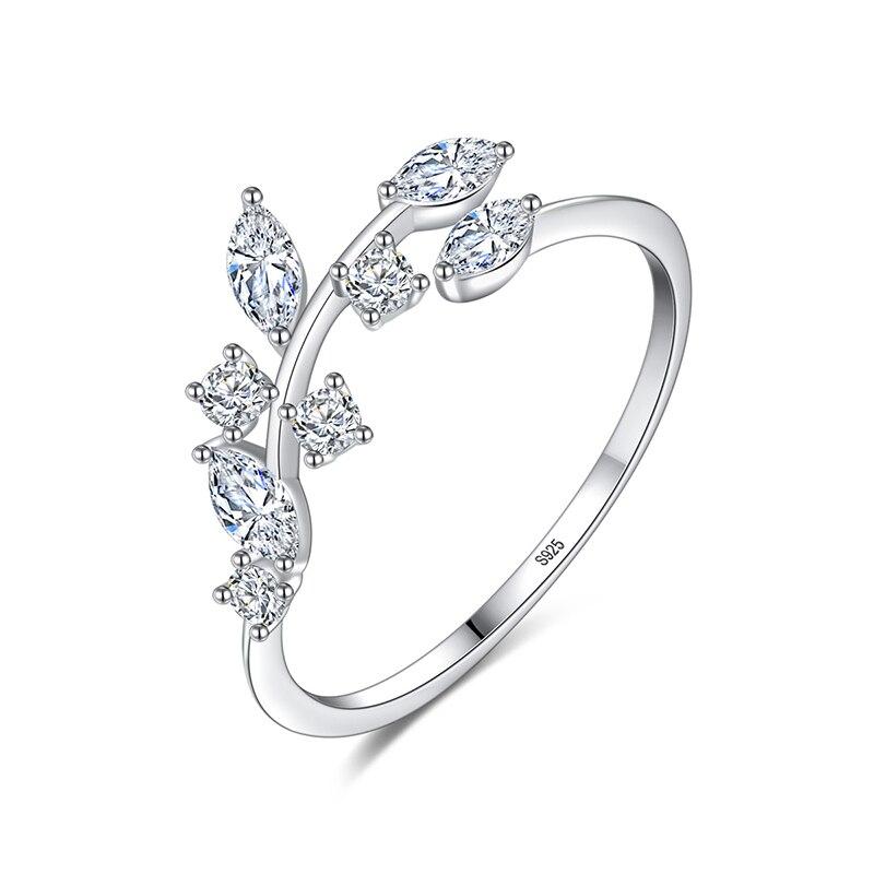 Женское кольцо с листочками оливы CZCITY, регулируемое открытое колечко из корейского стерлингового серебра 925 пробы с кубическим цирконием, ювелирное изделие ручной работы
