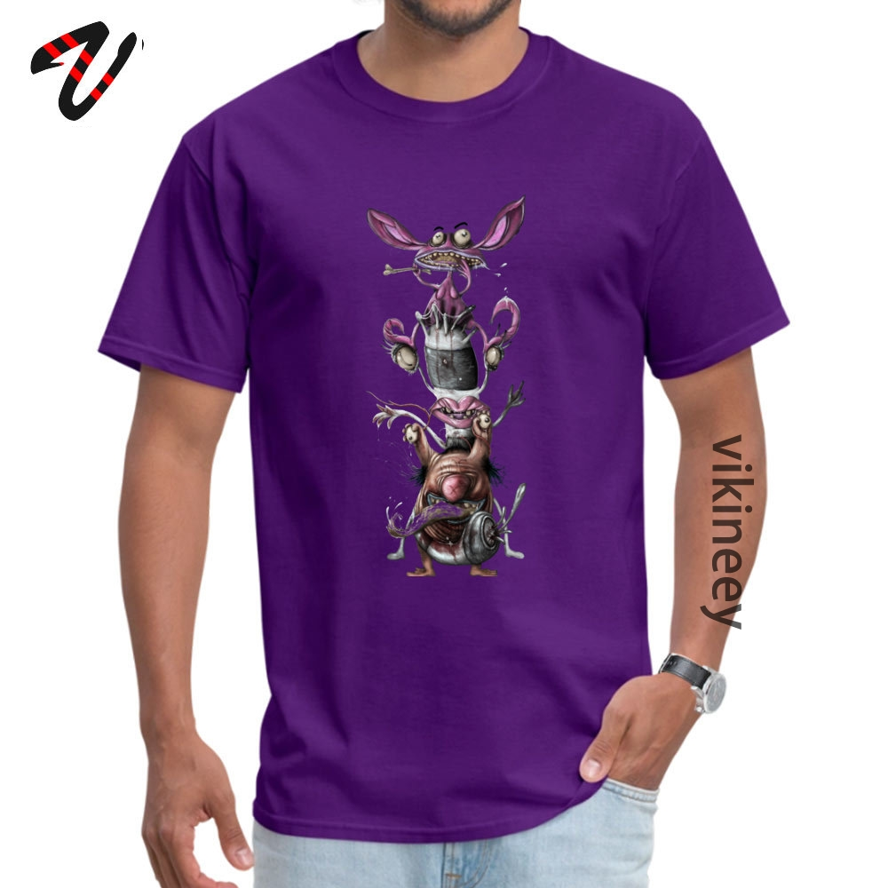 AHHH REAL Monsters Company Men T Shirt Round Neck Short Sleeve 100% Cotton Fabric Tops & Tees Casual Tops T Shirt AHHH REAL Monsters 2644 purple