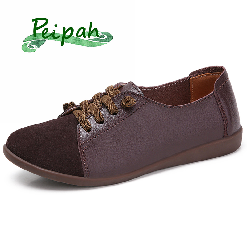 PEIPAH Shoes Woman Flats Lace-Up Retro Large-Size Spring/autumn Genuine-Leather Casual title=
