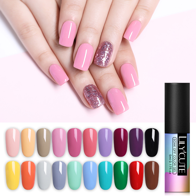 LILYCUTE Nail Art Gel 5ML Pure Nail Color UV LED Gel Nail Polish Long-lasting Macaron Soak off Varnish Gel Lacquer