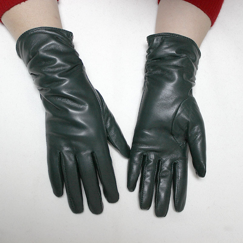Female Leather Gloves Woman Sheepskin Gloves Fashion Loose Style Lengthen Velvet Lining Autumn and Winter Warm