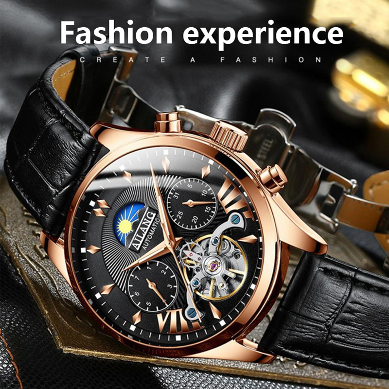 AILANG top luxury brand men's mechanical watch moon phase multi-function tourbillon watch diving clock men's business style