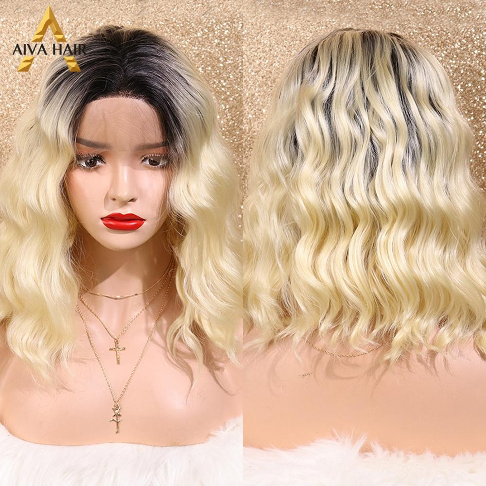 Aiva Hair High Temperature Cosplay Water Wave Synthetic Lace Front Wig Middle Part Blonde Ombre Wigs With Dark Roots For Women