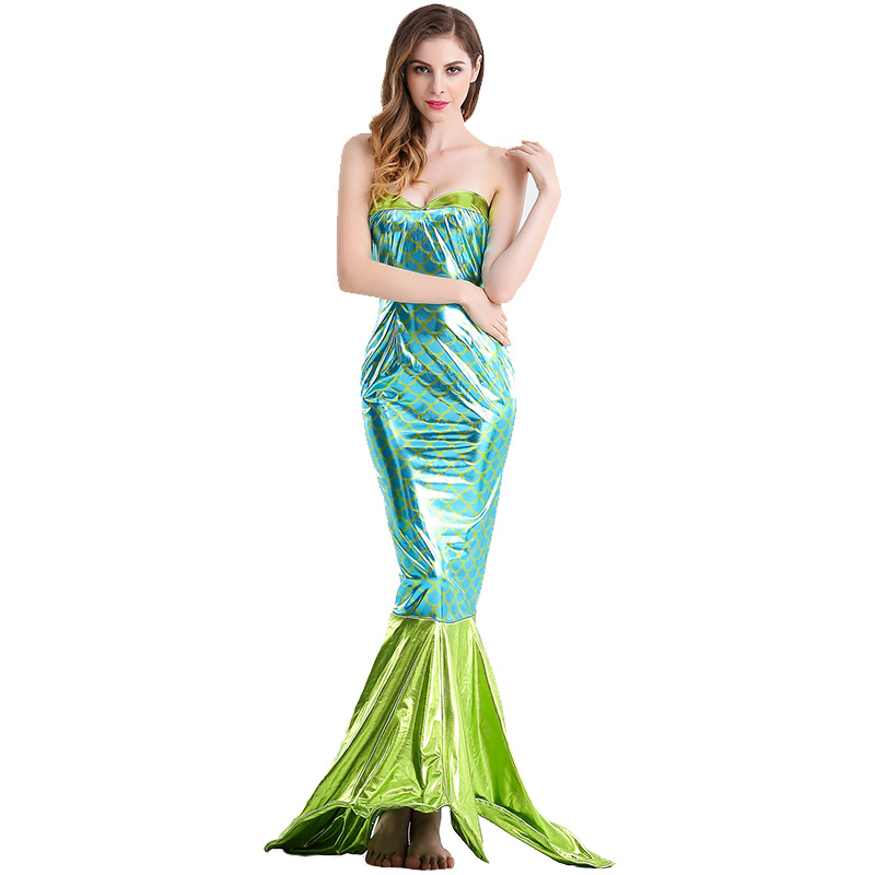 Halloween Costume Adult Women Princess Mermaid Dress Cosplay Ladies Fancy Party Sexy Backless Mermaid Tail Dress