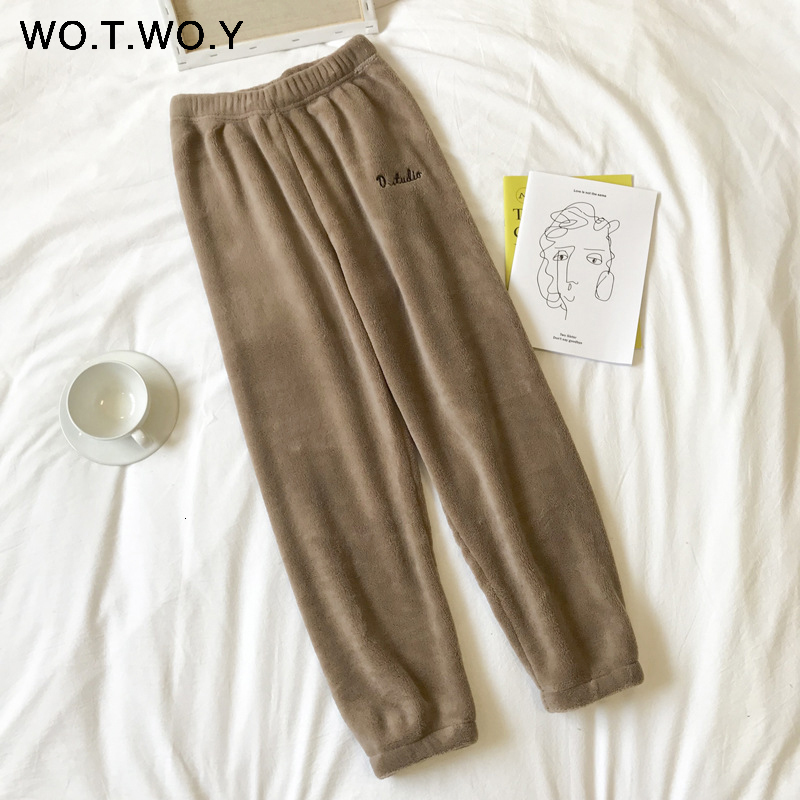 2019 Colorful Winter Pencil Pants Women Loose Thick Warm Elastic Waist Trousers Female Indoor White Red Velvet Harajuku