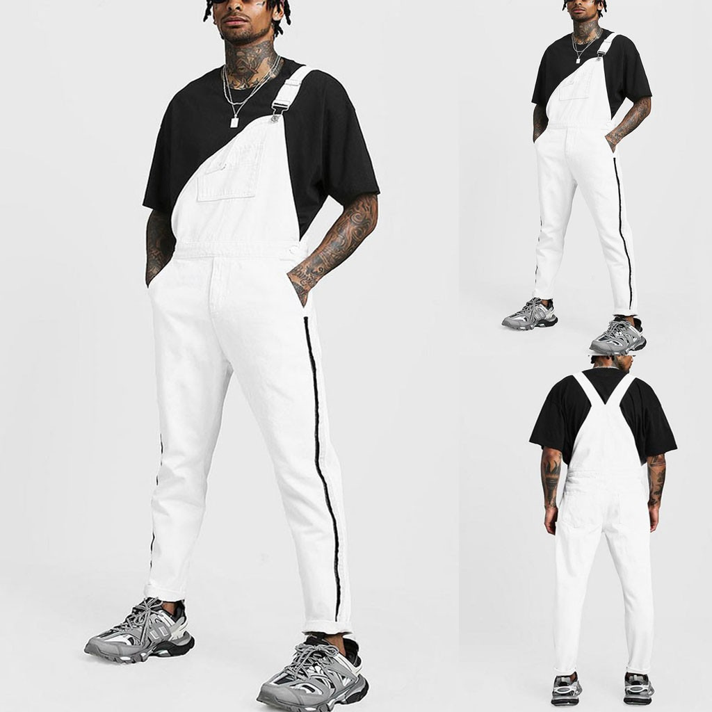 2020 Mens Pocket Jeans Overall Jumpsuit Streetwear Overall Suspender Pants Gaywear Pure White Hip hop Drawstring Streetwear