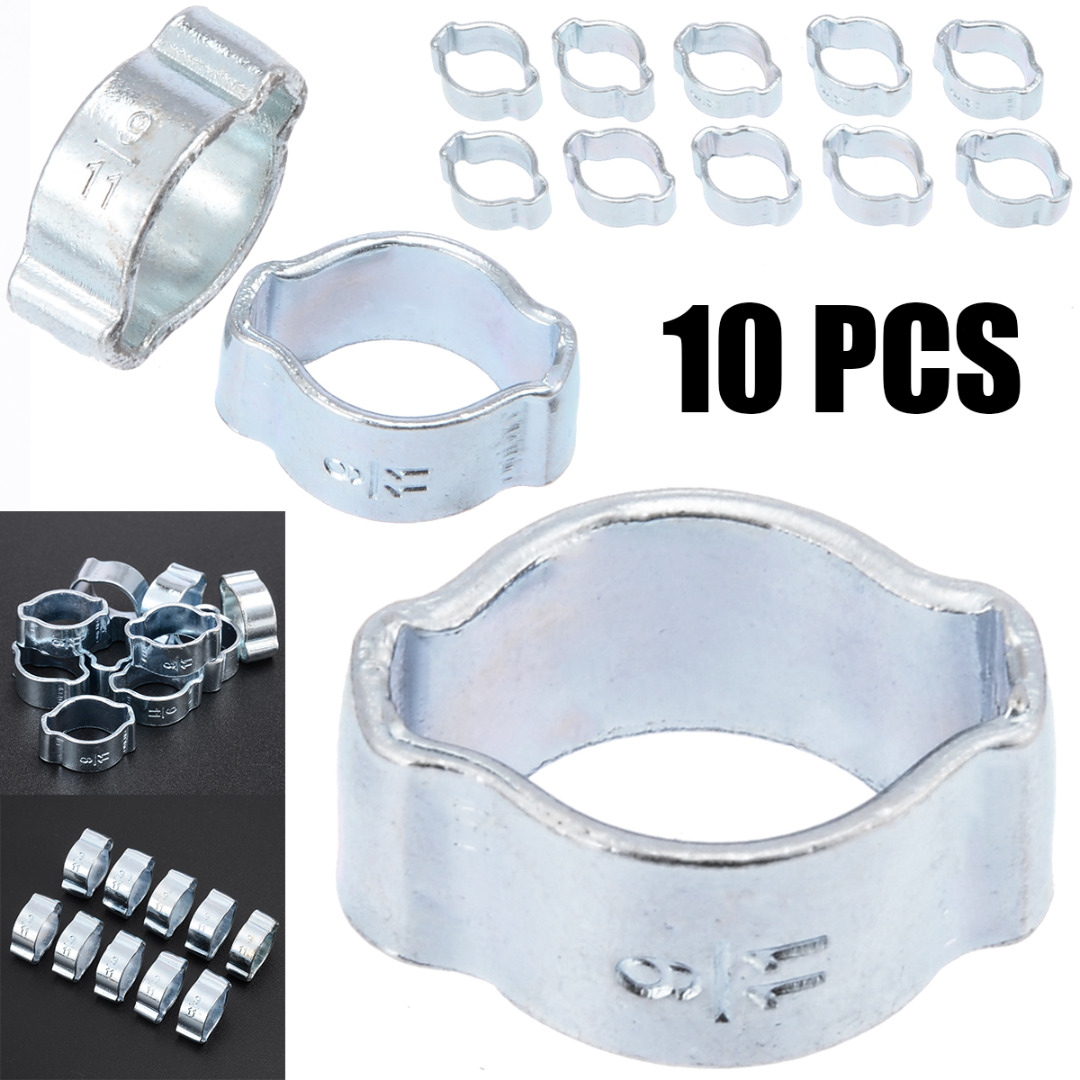 10pcs Clamps Stainless Steel Double Ears Worm Drive Fuel Water Hose Pipe Clamps Clips Hardware Tools Mayitr