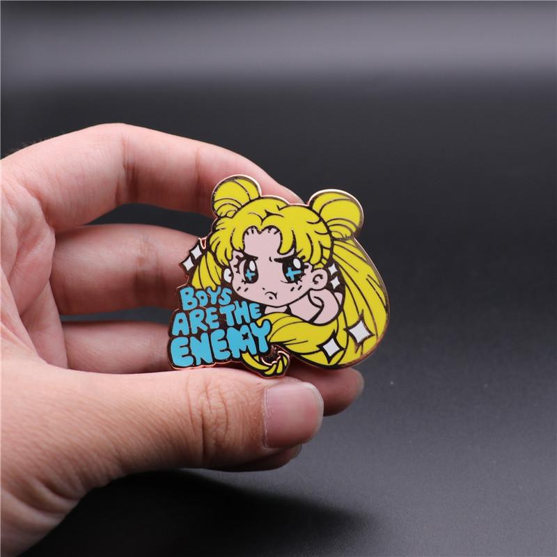 Original Card captor Sakura Sailor Moon Tsukino Usagi Soft Enamel Pin Brooch N