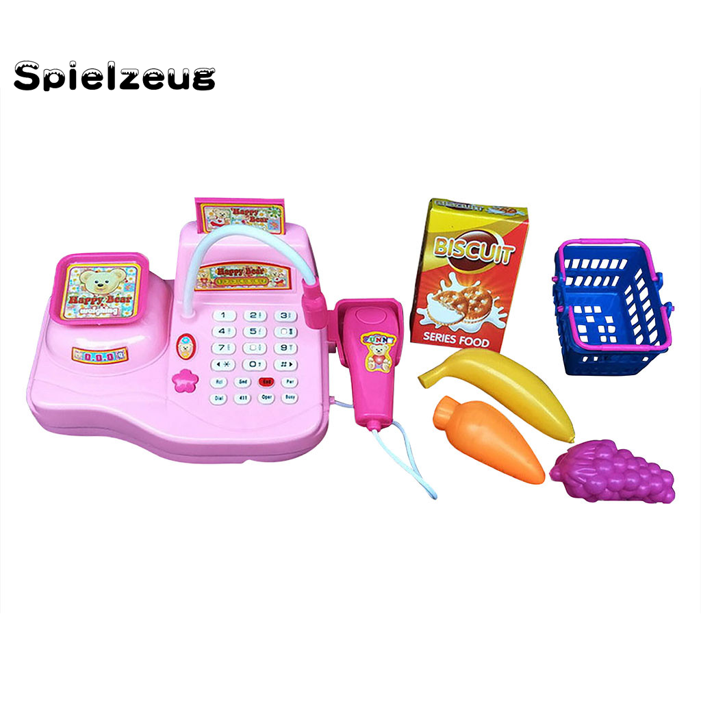 Per Kids Simulation Supermarket Cashier Toy Cash Register Playset Colorful Supermarket Checkout Toy Ideal Gift For Toddlers /& Pre-Schoolers