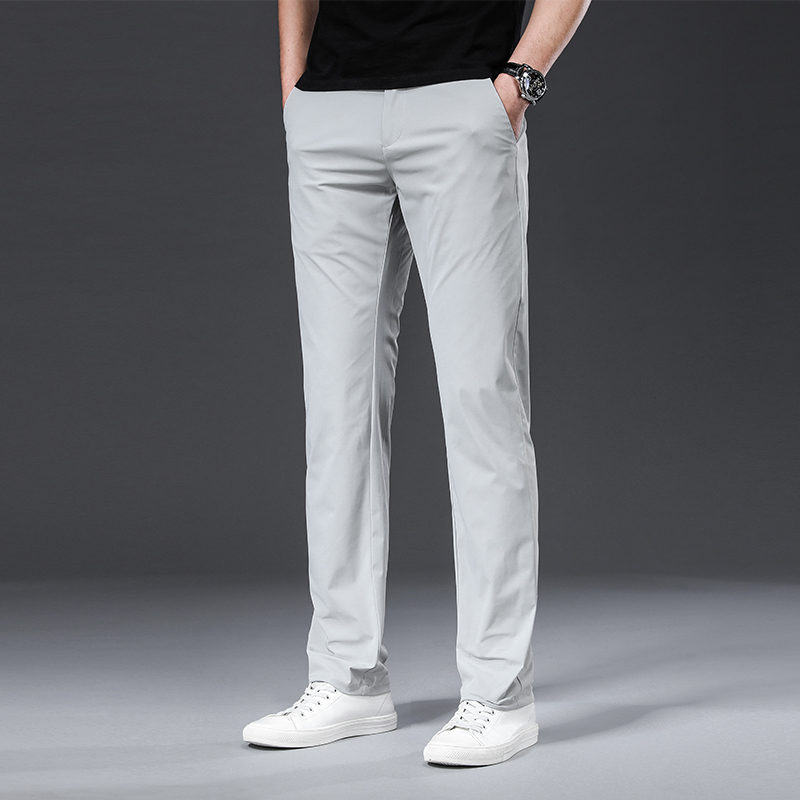 BROWON Classic High Quality Men Trousers Spring Summer Midweight Solid Color Straight Trousers Male Full Length Casual Pants Men