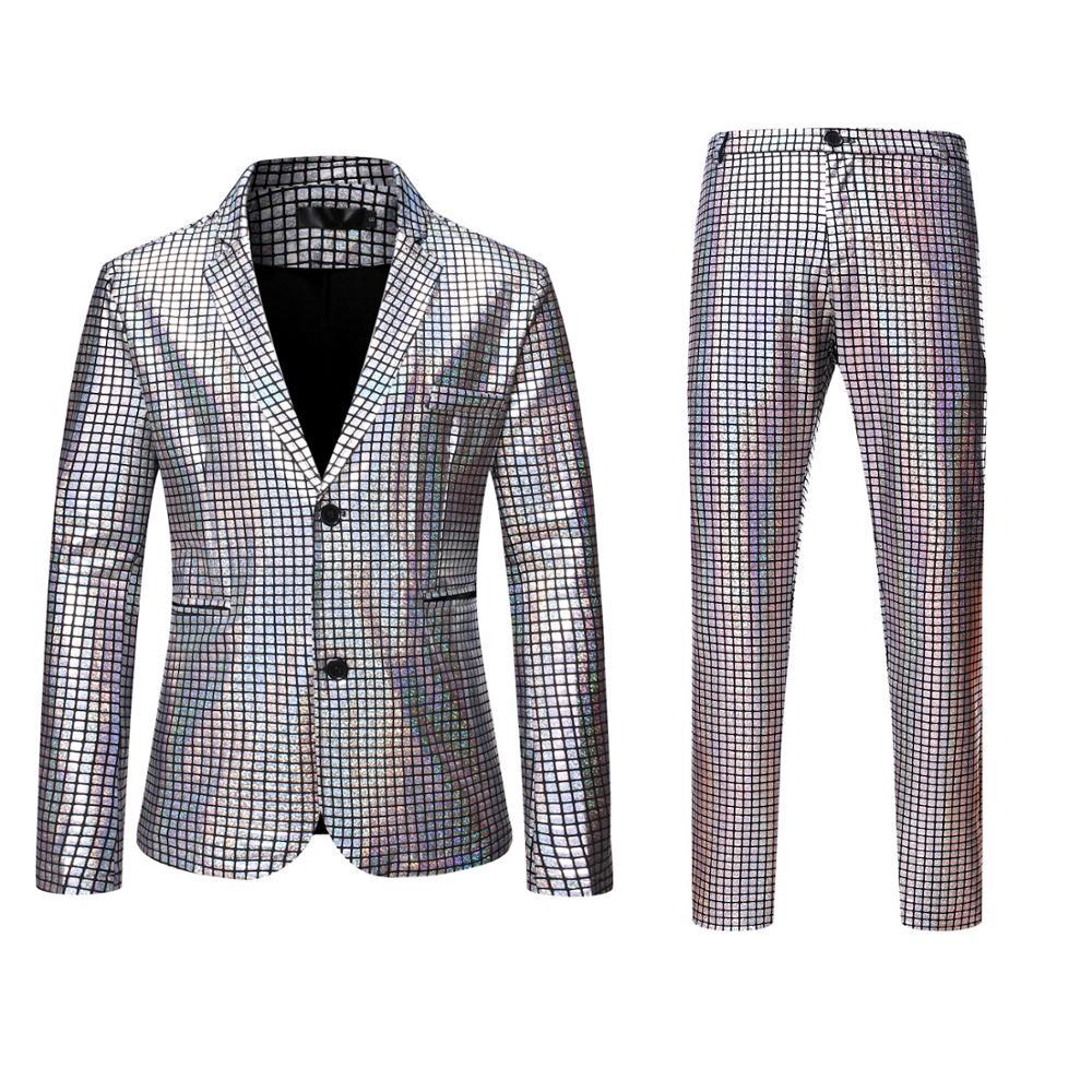 Rainbow Plaid Sequin Suits Men Dancer Stage Performance Blazer  With Pants Disco Festival Party Wedding Groom Tuxedo Costume