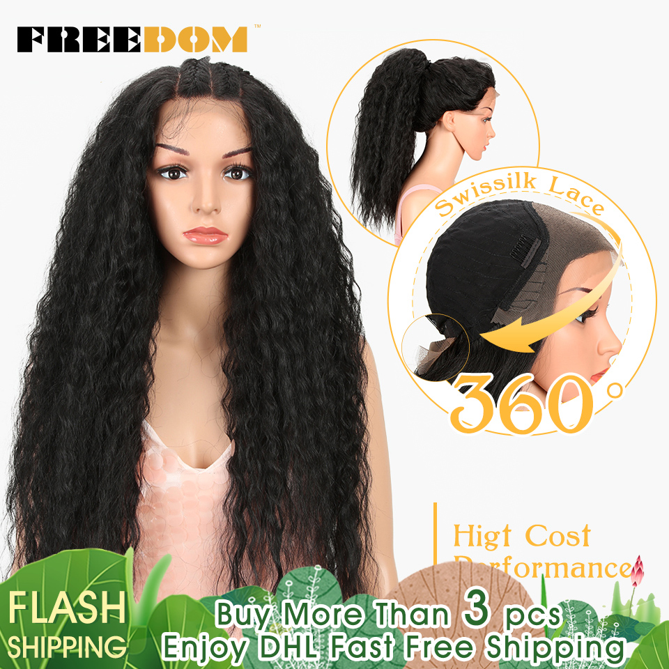 FREEDOM Ponytail Wig Lace-Frontal Curly Heat-Resistant Black American Women Fashion 360 title=