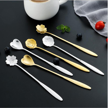 Tableware Teaspoons Dessert Mixing-Spoon Coffee Flowers-Design Long-Handle Stainless-Steel