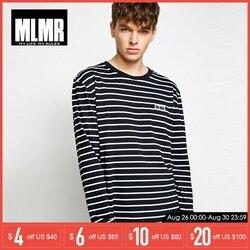 MLMR весна осень Мужская футболка с длинными рукавами o-образным вырезом полосатый хлопковый пуловер | 218302505