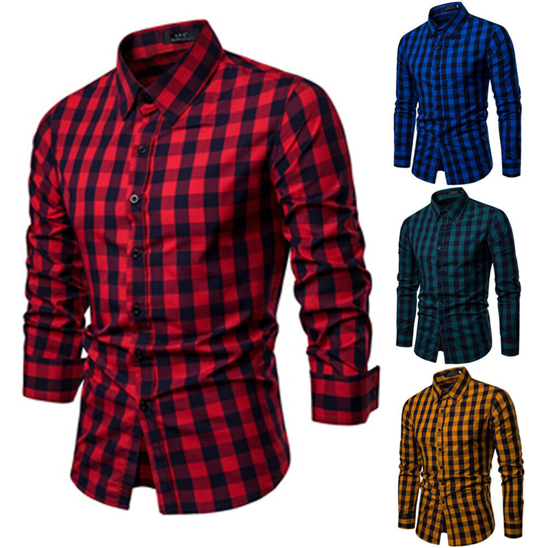 Tops Blouse Dress Business-Shirts Button-Down Slim-Fit Classic Long-Sleeved Plaid Modern title=