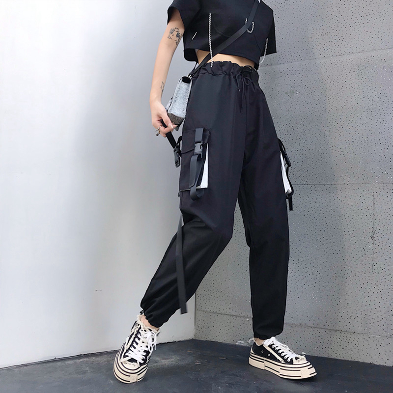Hot Big Pockets Cargo pants women High Waist Loose Streetwear pants Baggy Tactical Trouser hip hop high quality joggers pants 28