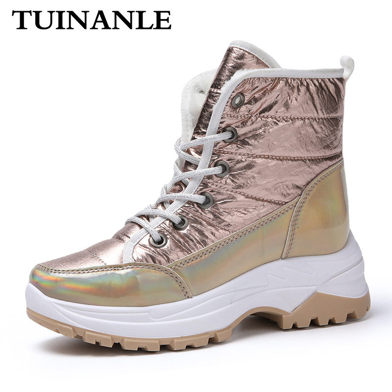 TUINANLE Women Boots 2020 New Winter Ankle Boots for Women Keep Warm Snow Boot Ladies Lace-up Comfortable Waterproof Botas Mujer
