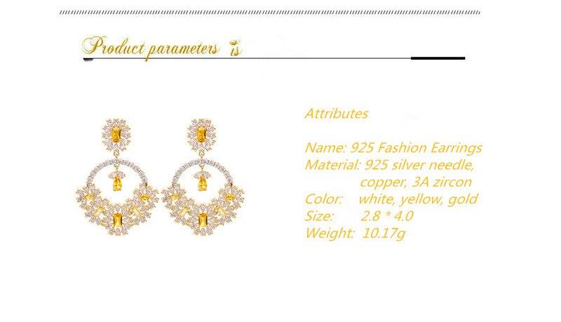 earrings for women earings jewelry earings fashion jewelry Women/'s earrings Flower basket earrings court yellow zircon LY10942