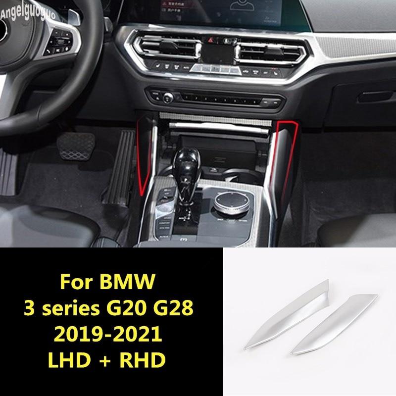 ABS carbon Chrome For BMW 3 series G20 G28 2019-21 interior auto Sticker Car Gear Shift panel decorative strip side cover trim
