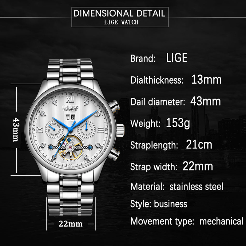 LIGE2020 Classic Mens Watches Top Brand Luxury Business Automatic Clock Tourbillon Waterproof Mechanical Watch Relogio Masculino