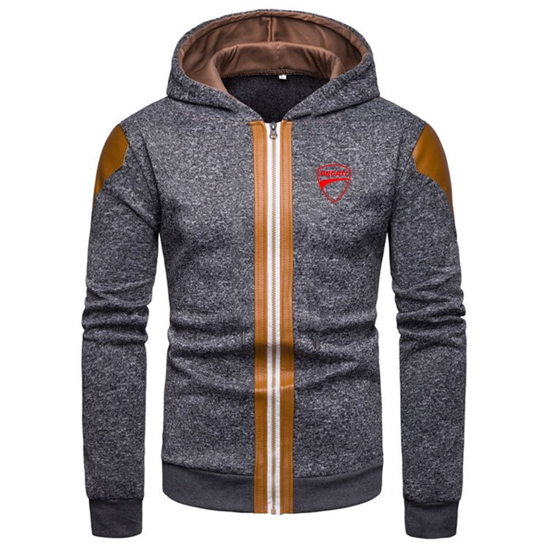 New Brand Patchwork Zipper Europe America Style Warm Fitness Hoodies Ducati LOGO Fashion High Quality Muscle Tops Fast delivery