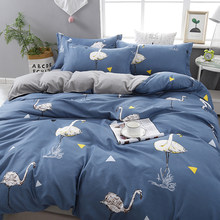 Home textile bed sheet set polyester cotton bedding sheet reactive printing bed cover bedspreads bird No quilt(China)
