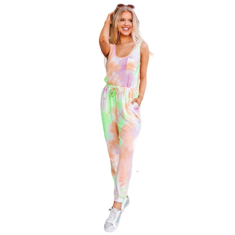 Female Leisure Long Pants Sweatsuit Suits 2020 Pocket Summer Women/'s Sets New Tie-Dyed Printed Gradient Sleeveless Two Piece Set