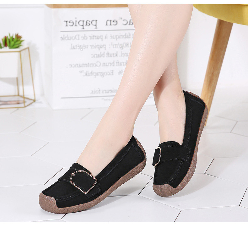 HX 7038-Spring Autumn Cow Suede Leather Women Flats-13