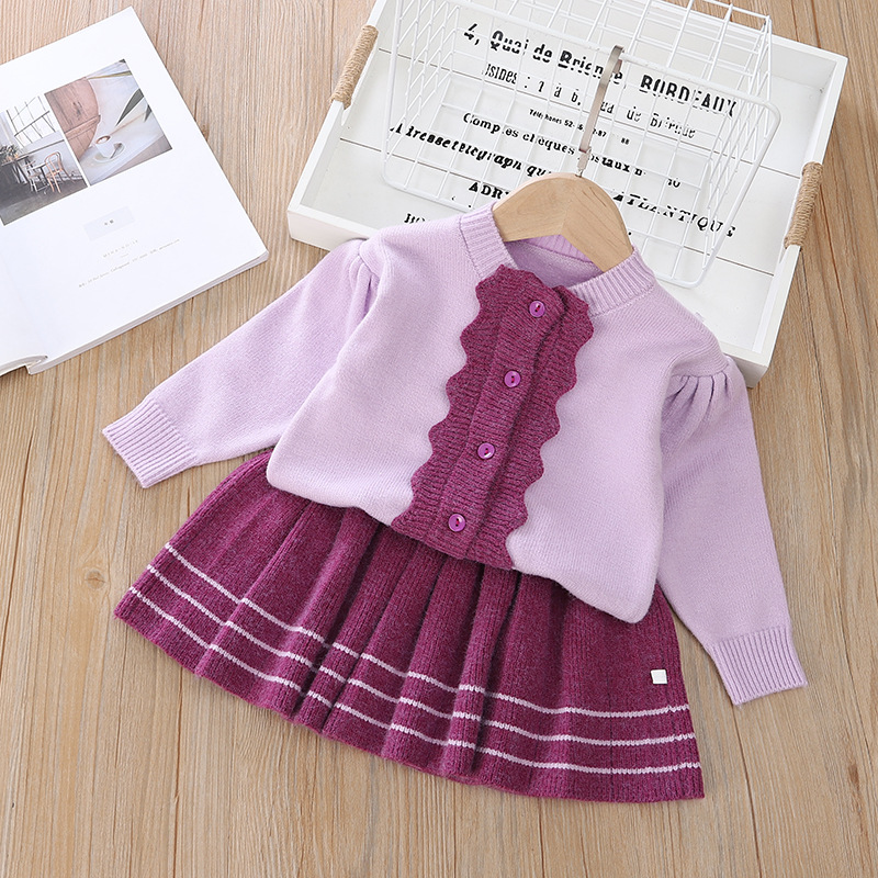 Fashion Clothing For Girls Winter Costume New Baby Girls Warm Sweater Skirt 2Pcs Baby Knitted Suit