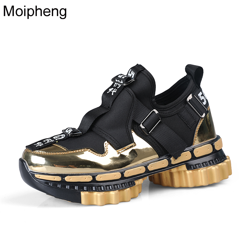 Moipheng Chunky Sneakers Men Platform Sneakers Women Gold 2020 Fashion Shoes Black Wedge Men Breathable Running Colorful Sneaker