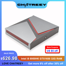Chatreey Mini PC Intel i9 8950HK 6 Cores with Nvidia GTX1650 4G Graphics Windows 10 Linux Gaming Desktop Computer SSD