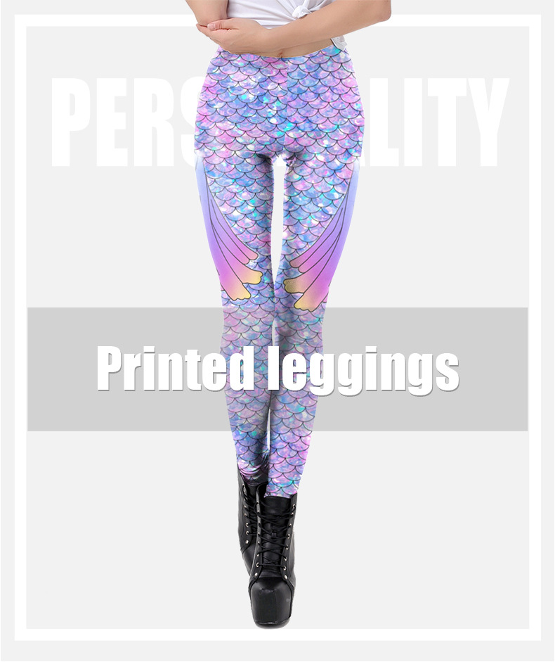 2020 hot sale new fish scale 3D digital printing Symphony sexy slim pants European&American sports nine-point printed leggings