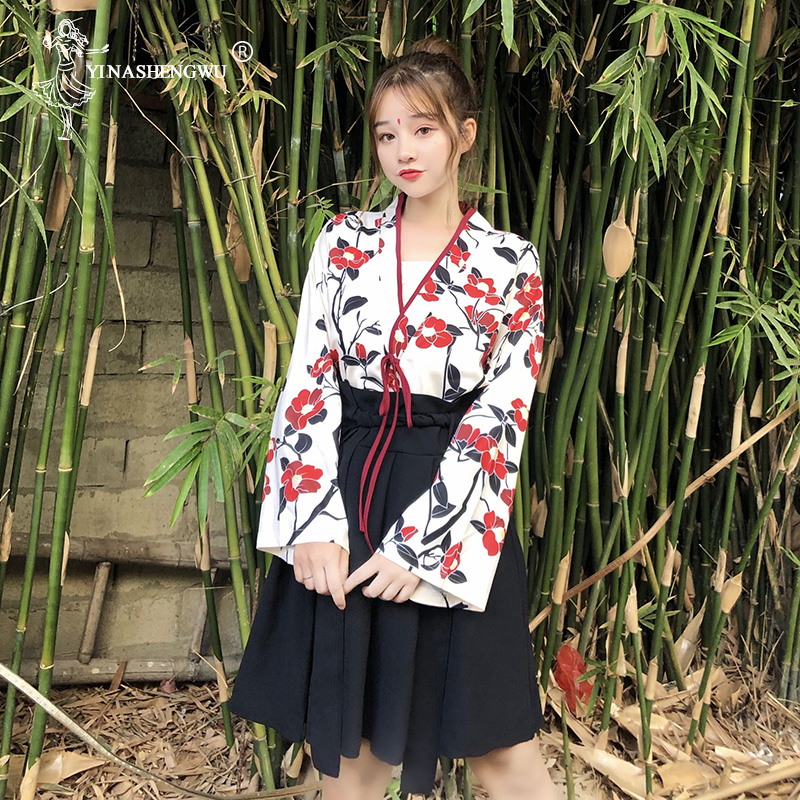 Japanese Style Woman Kimono Asian Skirt Fashion Floral Haori Girls Top and Skirt Outfits Full Sleeve Japanese Dress for Women