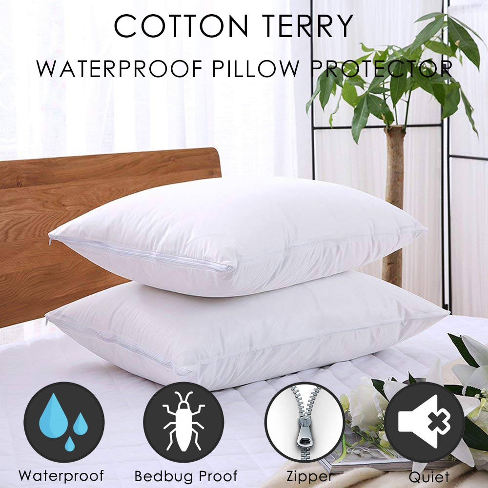 Zippered Pillow Encasement Protector Hypoallergenic Cotton Terry Waterproof