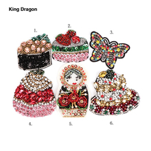 New Arrival Glass Rhinestone Beaded Butterfly Spaceship Patches For Jeans Or Hat 9CM Sewing Supplies Decorative Badge KD605
