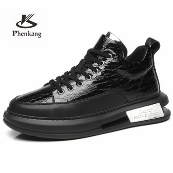 Phenkang Men Embossed Crocodile High Top Sneakers Lace Flats Black Leather Designer Boots Men's Casual Shoes