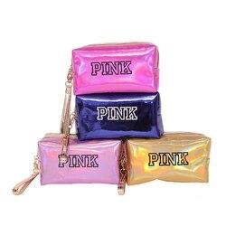 Женская модная косметичка, розовая Лазерная косметичка на молнии, косметичка, органайзер, чехол для хранения, косметичка, косметичка