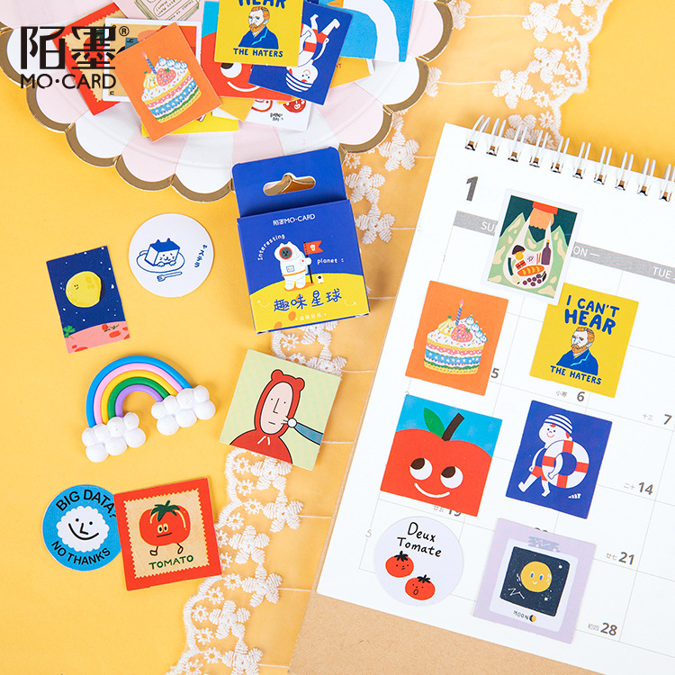 46 PCS Interesting planet Cute Boxed Kawaii Decoration Stickers Planner Scrapbooking Stationery Japanese Diary Stickers