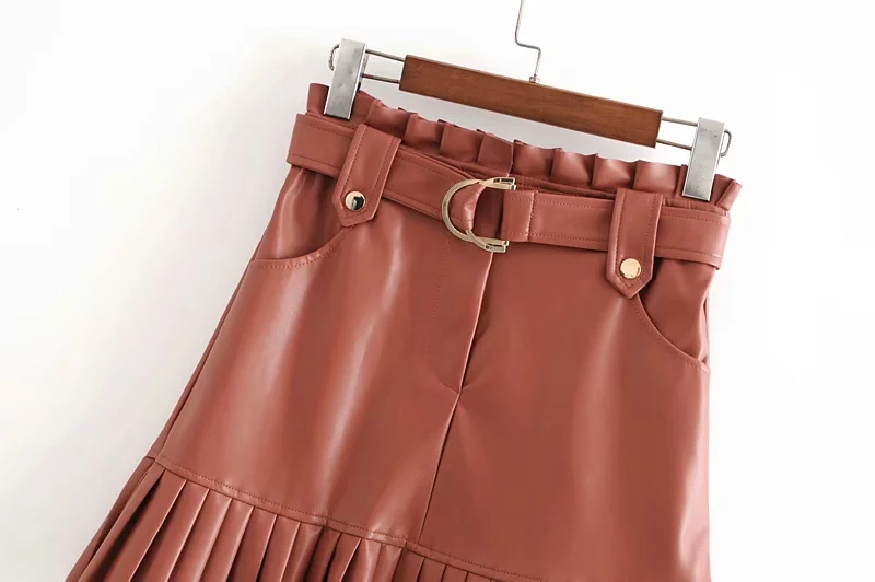 Stylish Chic Pu Leather Mini Skirt with Belt Za Fashion Women High Waist Pleated Hem Skirts Casual Streetwear Party Faldas 7