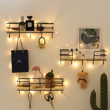 Shelf Organizer Hanging-Basket Storage-Rack Wire-Display-Shelf Iron-Wood-Wall-Decoration