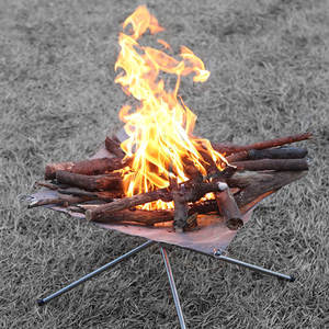 Foldable Portable Campfire Rack Outdoor Camping Burning Fireplace Rack Pit N6F6